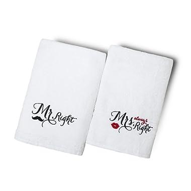 Livingtex Mr Mrs Bath Towels Set of 2 - Luxury Cotton Fluffy Bathroom Spa Hotel Quality, Wedding,Engagement,Anniversary,Valentine,Couples Towels Sets,Gift