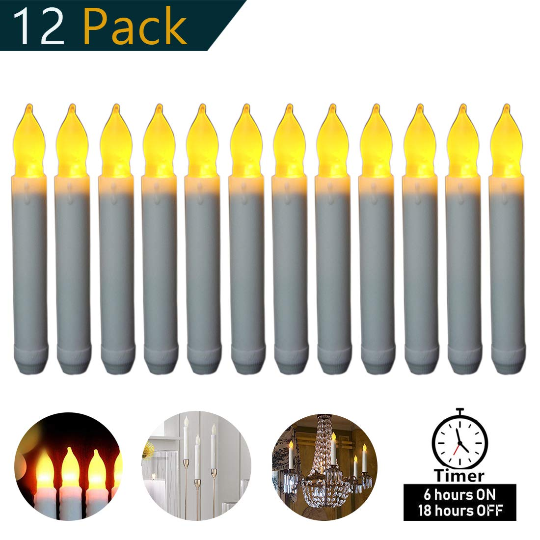 Micandle Set of 12 Yellow Mini Battery Operated Wax Dipped White Body LED Taper Candles, Flameless Taper Candles for Wedding, Halloween, -Batteries Not Included -(Amber Flickering Long Light Bulbs)