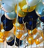 12'' 3.2 Helium Quality Pearl Latex Balloons - Black Gold And Silver. Exclusive Night Decoration & Birthday Parties -100 Count.