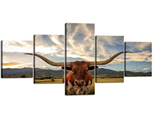 Modern Texas Longhorn Canvas Wall Art Longhorn Steer in Rural Utah Picture Prints on Canvas Wall Art Modern Animal Giclee Artwork Stretched and Framed Ready to Hang for Home Decor - 50''W x 24''H