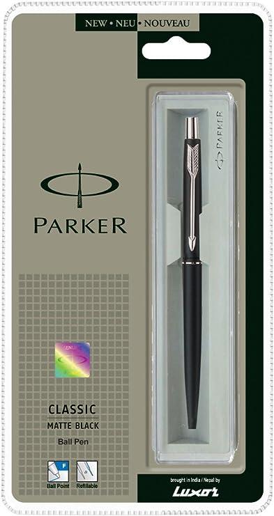 Penna Classica Parker Nera Opaca Biro Cromo Opaco con Scatola Regalo
