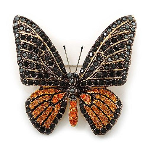 (Avalaya Black, Orange Austrian Crystal 'Tiger' Butterfly Brooch in Gold Plating - 50mm Length)