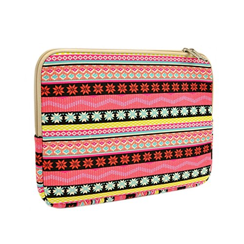 "Unik Case Snowflake Pink Bohemian Zipper Laptop Sleeve Bag Case Cover for All 13"" 13-Inch Laptop Notebook / Macbook Pro / Macbook Unibody / Macbook Air / Ultrabook / Chromebook"