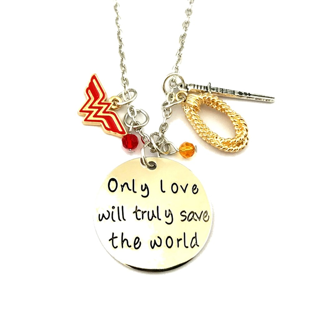 J&C Family Owned Wonder Woman Amazonian Logo Cosplay Necklace w/Gift Box