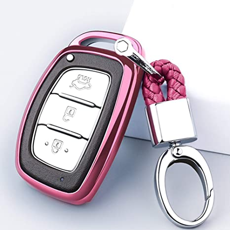 Mofei for Hyundai Key Fob Cover Shell Case TPU Protector Holder with Key Chain Compatible with Hyundai Tucson Elantra Sonata I40 IX35 I45 Smart 4 5 ...