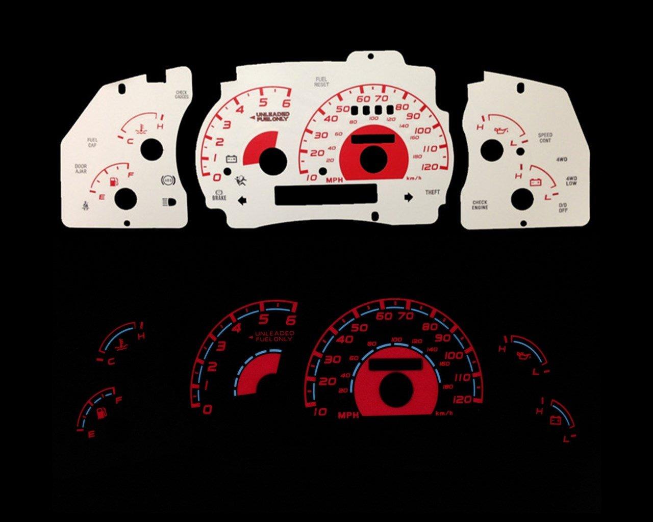 Brand New White Face Red Indigo Reverse Glow Gauges For 95-01 Ranger Explorer w/ Tach RPM (I-295rd)