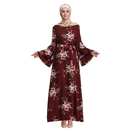 24acc8cb2c6 Amazon.com: Women Summer Print Maxi Dress, Lady Trumpet Sleeve Embroidery  Elegant Swing Dress Long Robe Gowns Tunic Belt: Video Games