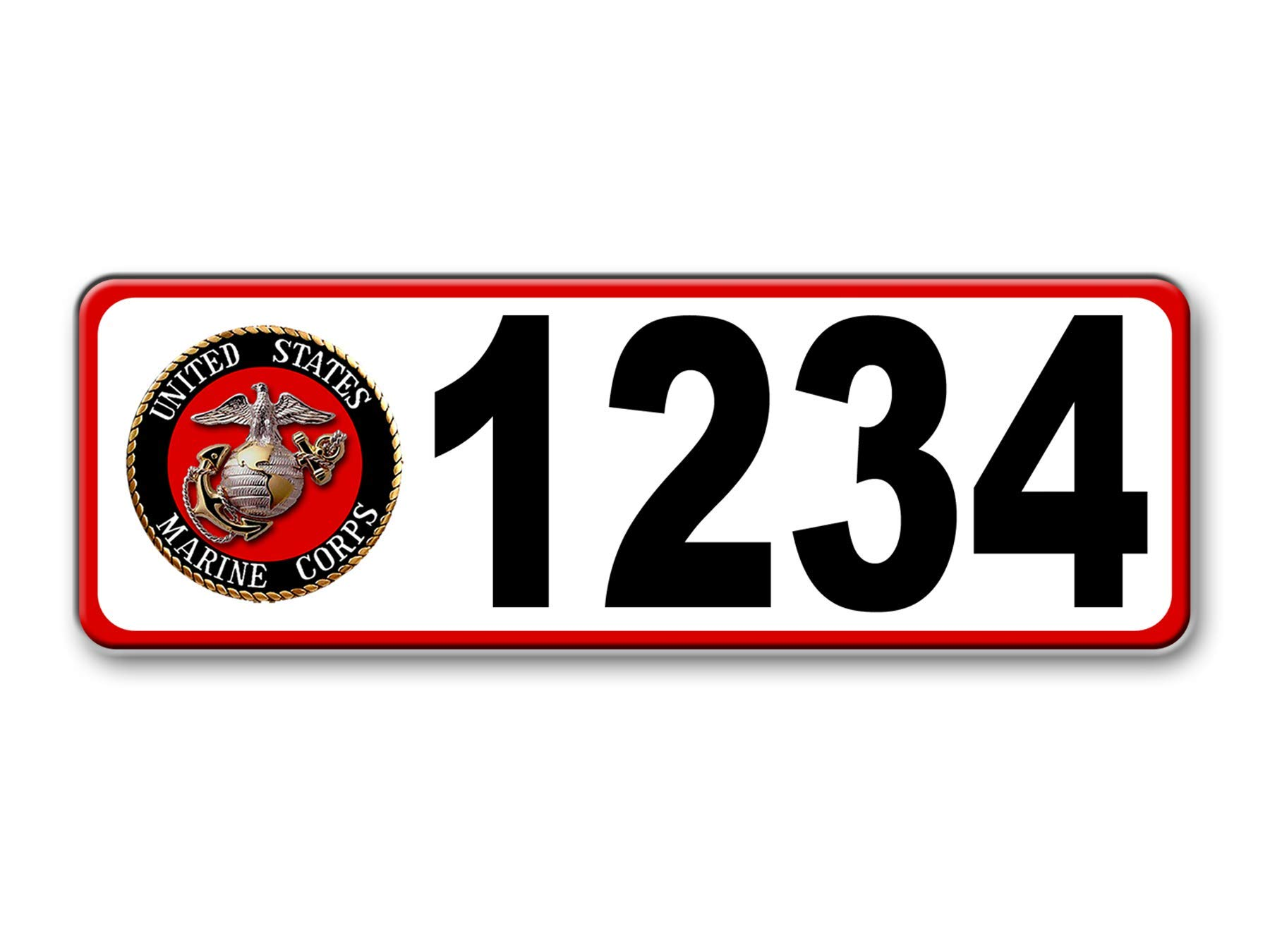 Marine Corps Curb-Wrap, Reflective self-stick curb address