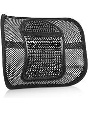 Cuscino Lombare Supporto Lombare con Fascette Regolabili Mesh Supporto per La Schiena e Cuscino Lombare per Auto – Nero (Black-1)