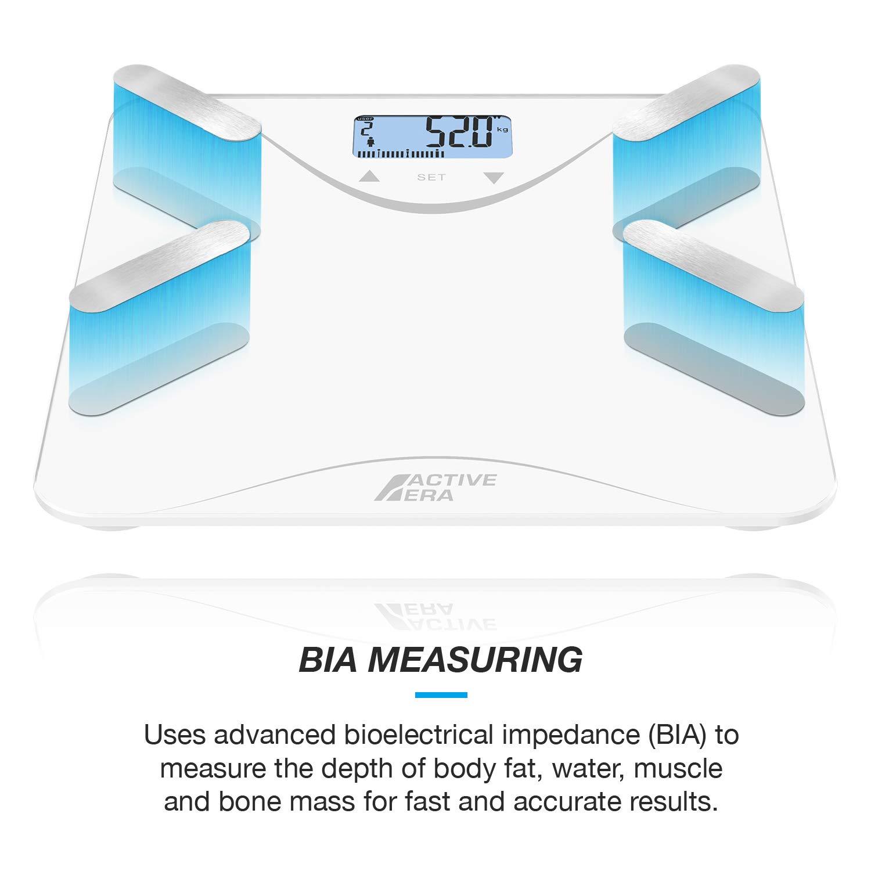 Active EraTM - Báscula de baño ultrafina para medir la grasa corporal. Analizador con% de grasa corporal, IMC, edad, peso y altura - Blanco: Amazon.es: ...