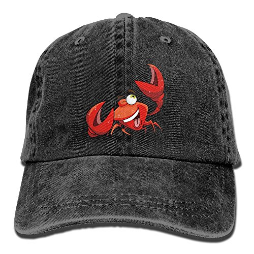 Dogquxio Crab With One Eye Closed Denim Baseball Caps Hat Adjustable Cotton Sport Strap Cap For Men Women Black
