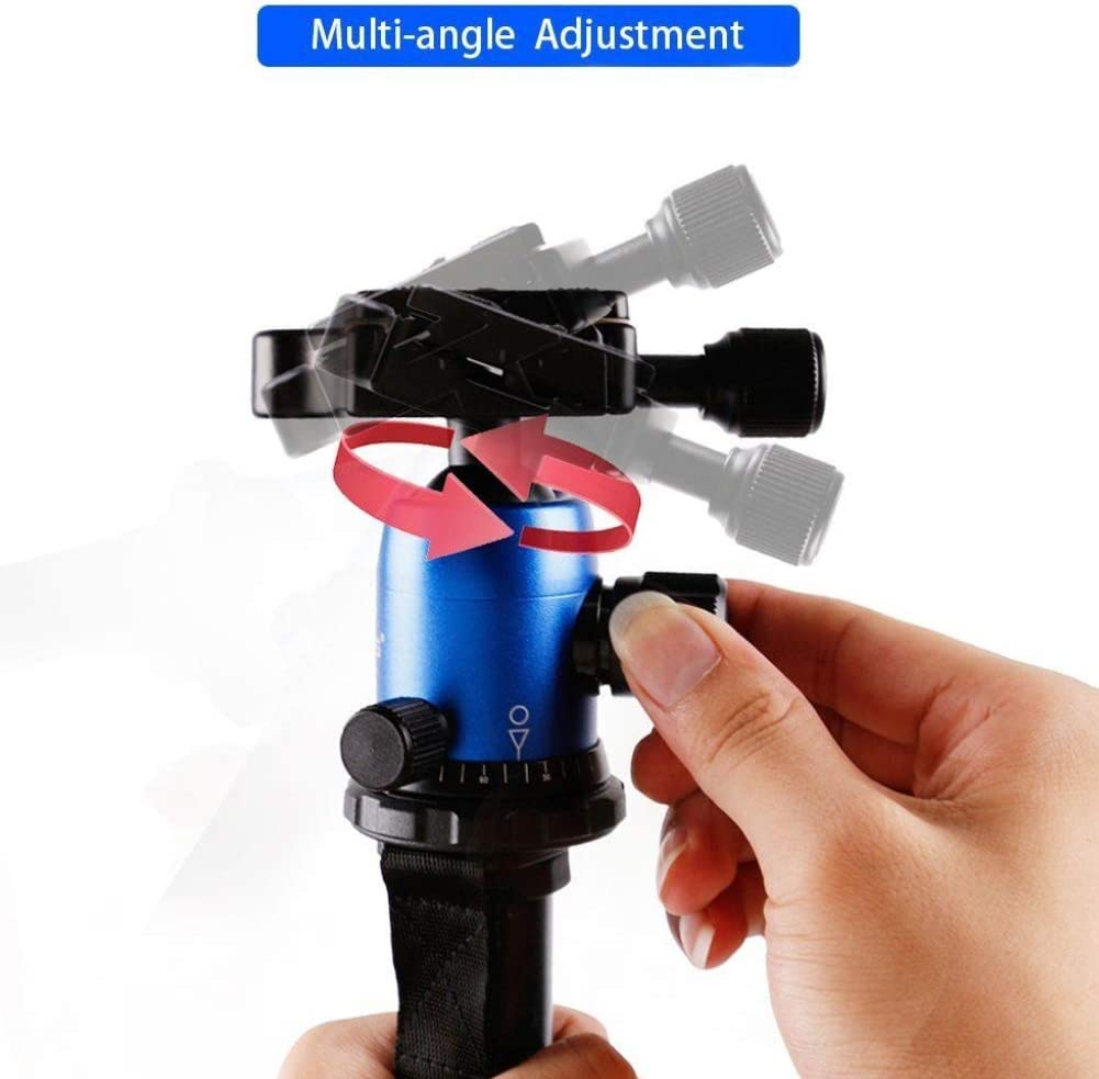 AkoMatial Portable Foldable 360 Rotary Travel Tripod Ball Pan Head Camera Stand Accessories for DSLR Camera Black