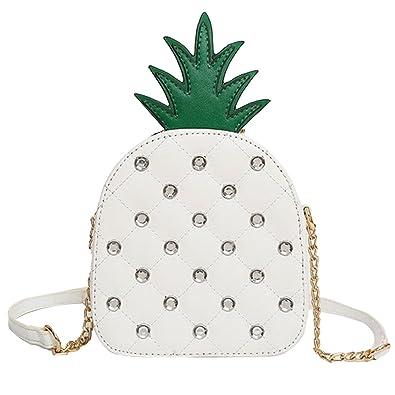 c30a99e6dd03 Amazon.com  Girl Pineapple Shape Rhinestone Bling Handbag Chain Shoulder  Crossbody Bag with Makeup Brush Set Yellow  Shoes