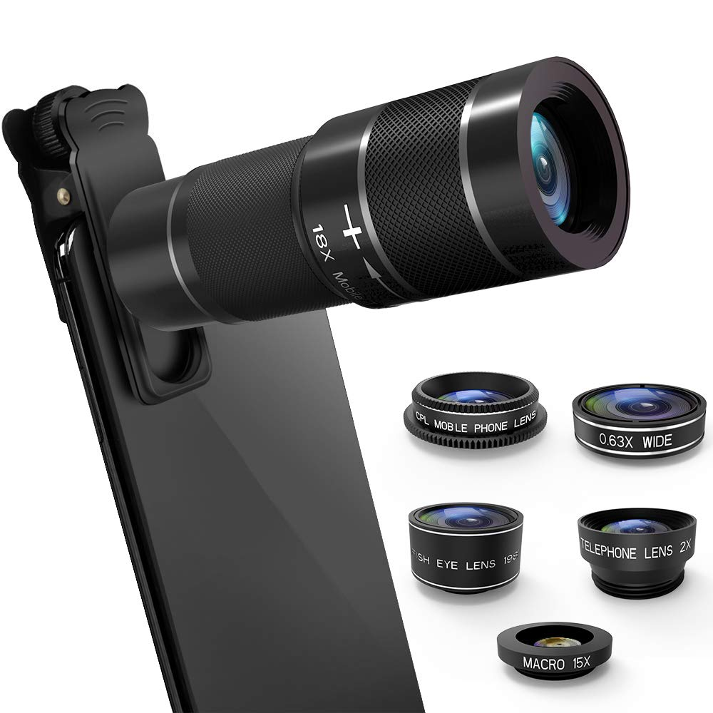 Phone Camera Lens Kit, 6 in 1 Cell Phone Camera Lens with 18X Zoom Telephoto Lens/Fisheye/Wide Angle& Macro Lens(Screwed Together)/Teleconverter/CPL, Compatible iPhone, Samsung & More