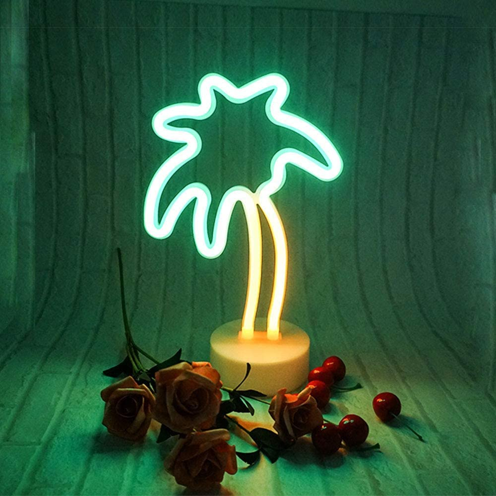 ENUOLI Coconut Palm tree Neon Signs LED Battery Operated USB Powered Neon Light with Holder Base for Party Supplies Girls Room Decoration Accessory for Luau Summer Party Children Kids Gifts