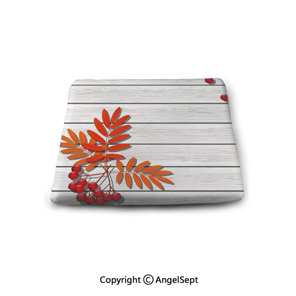 Square Chair Seat Cushion for Kitchen Dining Chairs,Rowan,Graphic Design of Autumnal Foliage on Wooden Planks Freshness Growth Ecology Decorative,Red Orange Grey,Memory Butt Pad Non Slip