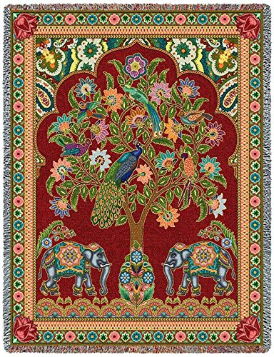 Pure Country Weavers Floral Tapestry (Pure Country Inc. Asian Elephants Blanket Tapestry Throw)