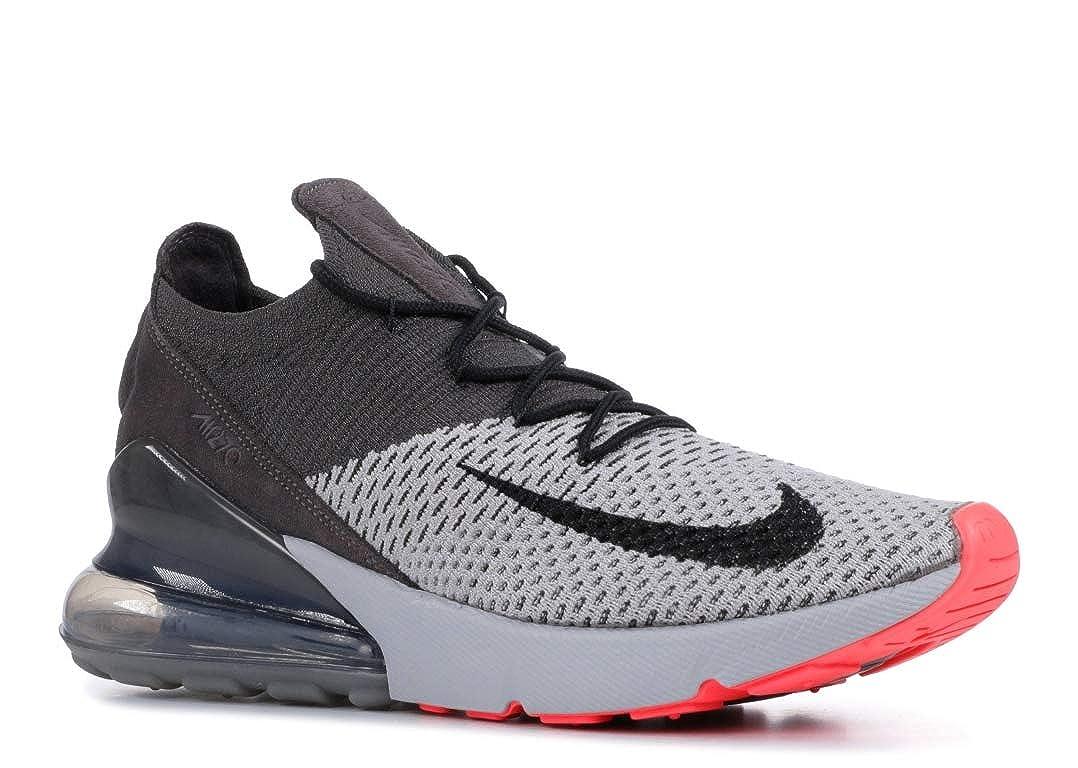 Nike Air Max 270 Flyknit Men's Atmosphere GreyHyper PunchThunder Grey Nylon Training Shoes 7.5 D(M) US