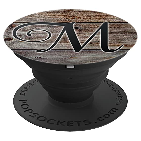 cursive letter m wood background popsockets grip and stand for phones and tablets