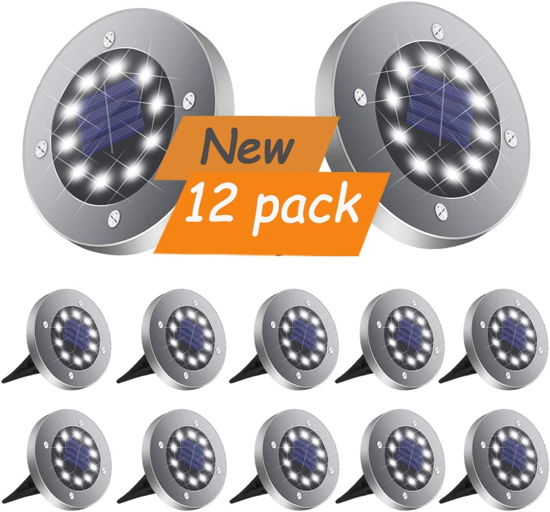 DUUDO Solar Ground Light, Upgraded 10 LEDs Pathway Garden Outdoor Waterproof Solar Garden Lights, Disk Lights Cold White, 12 Packs