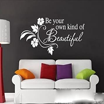 Witkey be your own kind of beautiful flower vine wall sticker art decor decal quote decals