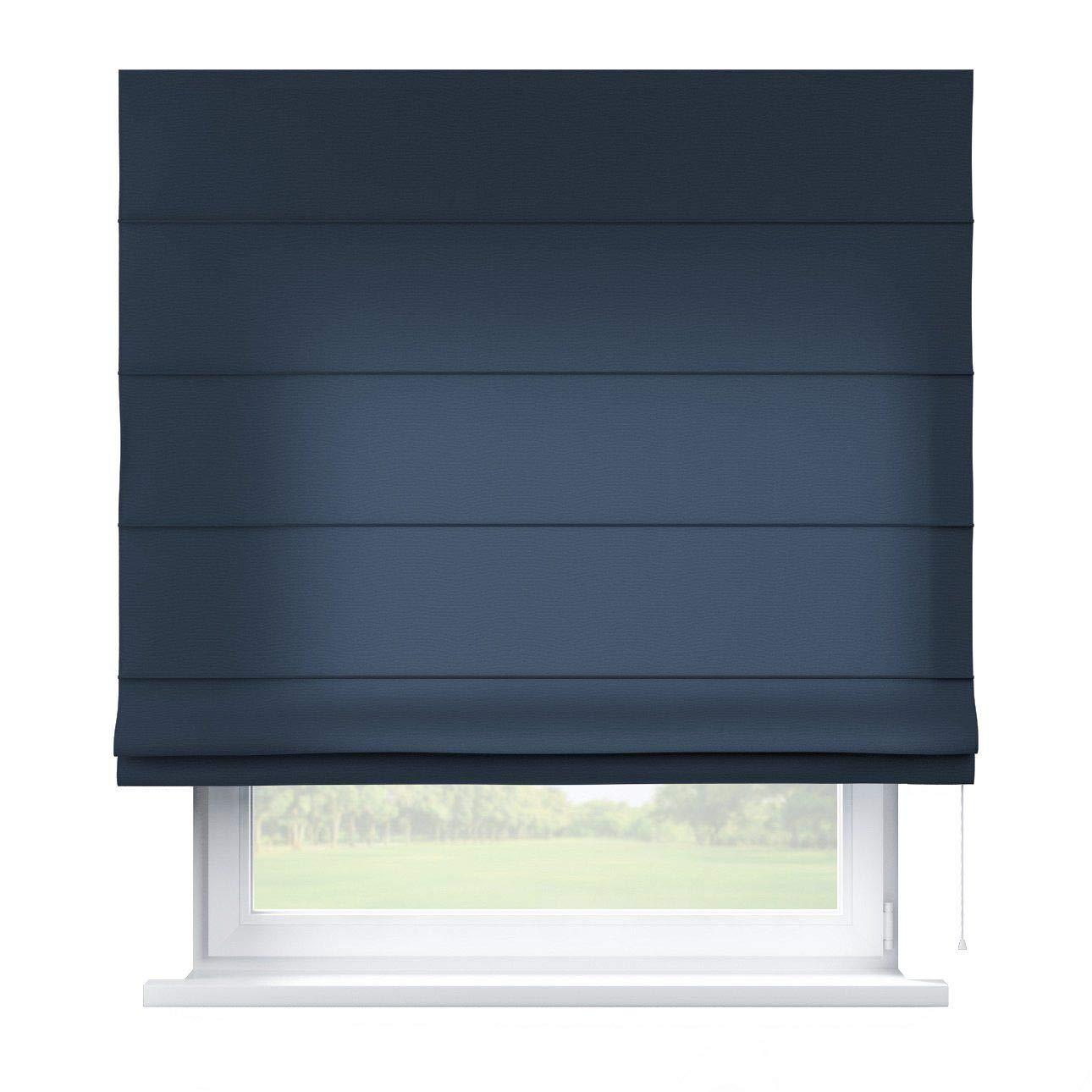 Dekoria Raffrollo Capri ohne Bohren Blickdicht Faltvorhang Raffgardine Wohnzimmer Schlafzimmer Kinderzimmer 130 × 170 cm marinenblau Raffrollos auf Maß maßanfertigung möglich