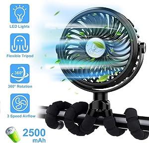 FITA Stroller Fan, Portable Handheld USB Desk Fan with Flexible Tripod and LED Lights, 3 Speed Settings, Personal Fan for Bike/Baby Stroller/Car Seat