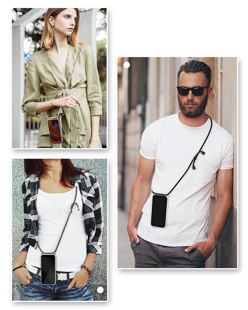 Suave Silicona Transparente TPU Carcasa de movil con Colgante//Cadena Moda y Practico Anti-Choque Negro Mate Anti-rasgu/ños 2018 YuhooTech Funda con Cuerda para Samsung Galaxy J4 Plus ,