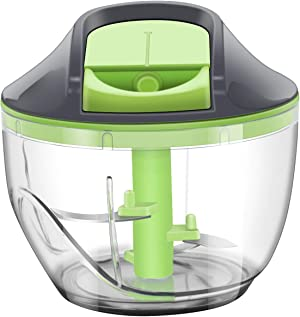 ChefHachiro Manual Food Chopper, Handheld Vegetable Slicer, Hand-powered Onion Food Processor Cutter, Dishwasher Safe Oriental Kitchenware with Stainless Steel Blades