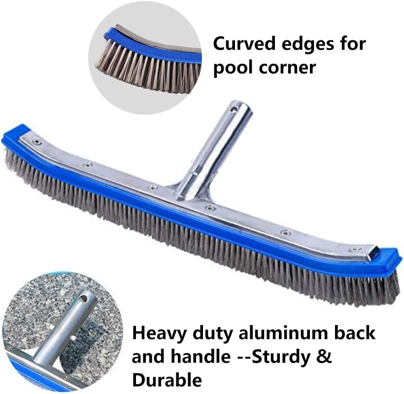 """Lalapool Swimming Pool Scrub Brush,Heavy Duty 18"""" Aluminum Stainless Steel Wire Bristle Pool Brush for Walls,Tiles & Floors Curved Cleaning Brushes with EZ Clips"""