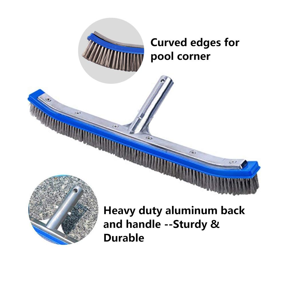 Lalapool Swimming Pool Scrub Brush,Heavy Duty 18'' Aluminum Stainless Steel Wire Bristle Pool Brush for Walls,Tiles & Floors Curved Cleaning Brushes with EZ Clips by Lalapool