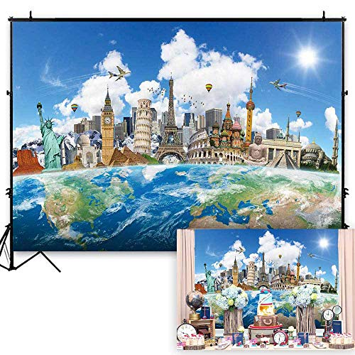 Globe Banner - Funnytree 7x5ft Globe Travel Photography Backdrop