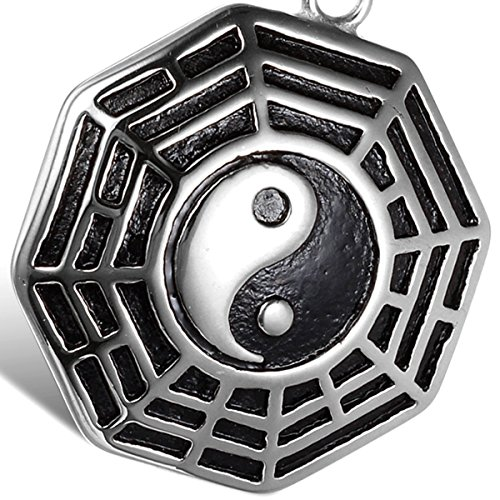 Oidea Stainlss Steel Mens China TaiChi Yinyang Eight Appetizer Pendant Necklace,Silver