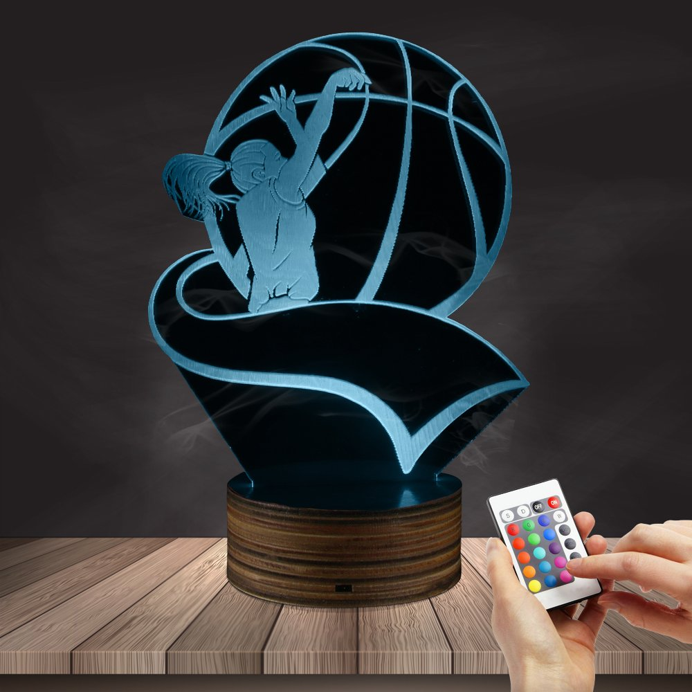 Female Basketball Player Silhouette LED Night Light