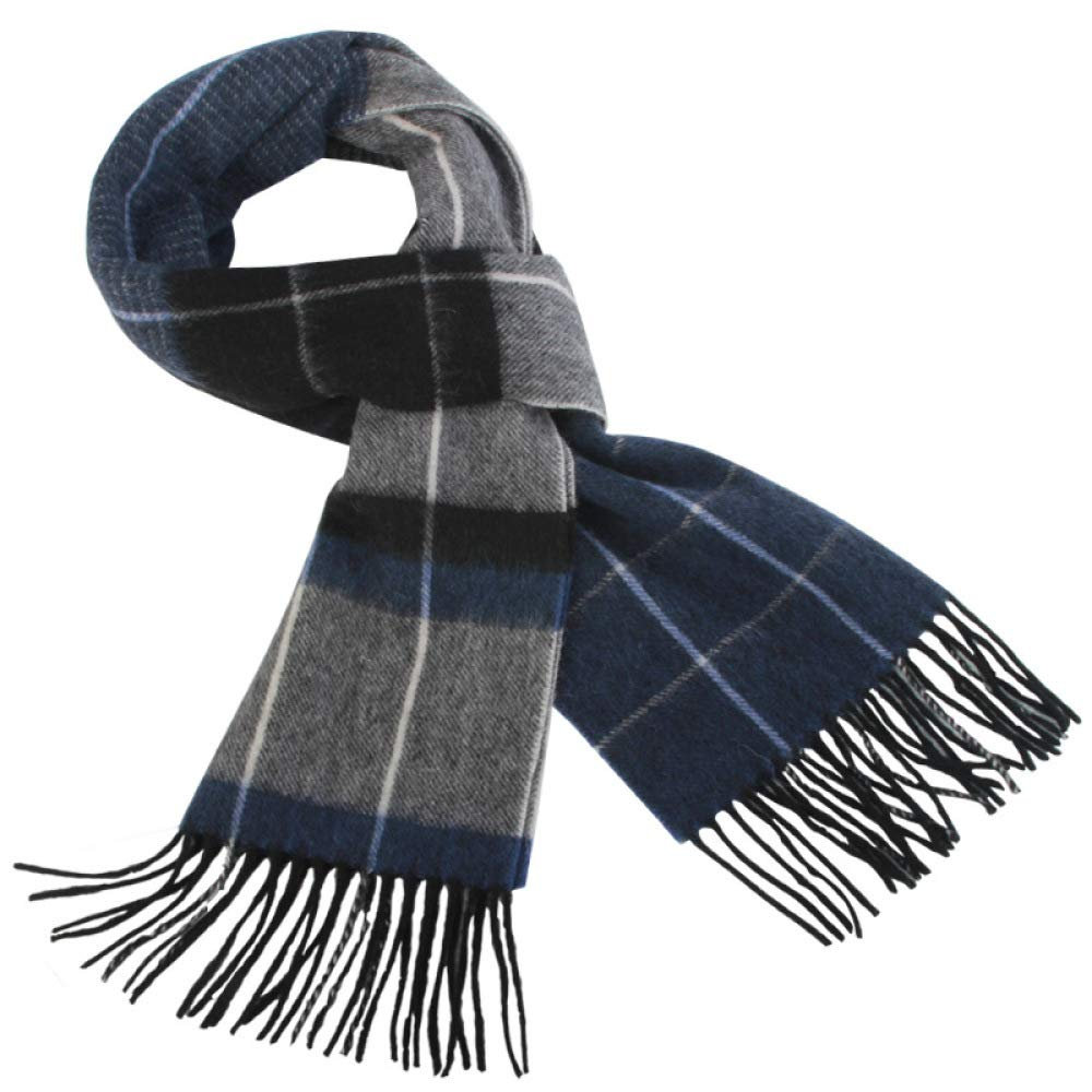 SLR Men's Plaid Scarf, Autumn and Winter 100% Wool, Business Warm Scarf,Blue,One Size