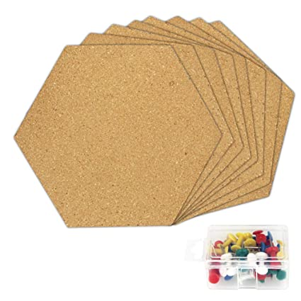 Amazon Com Golrisen Cork Tiles Hexagon Pin Board Adhesive Cork