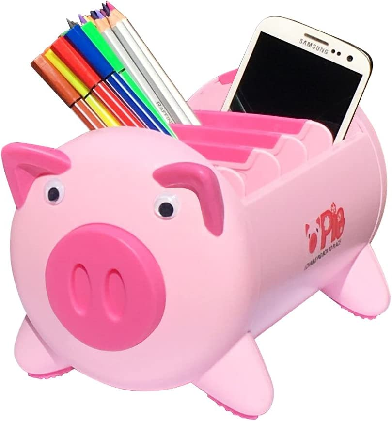 Office Desk Organizer Desktop Stationery Storage Box Collection Pen Pencil Mobile Phone Remote Control Holder Desk Supplies Organizer - Creative Pigs Plastic with 4 Adjustable Spaces