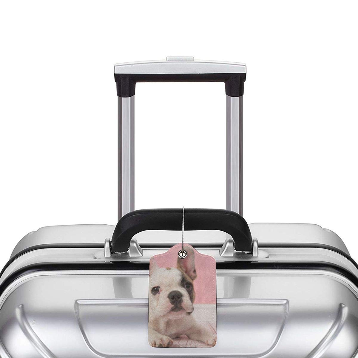 French Bulldog2 Leather Luggage Tags Personalized Travel Accessories With Privacy Flap