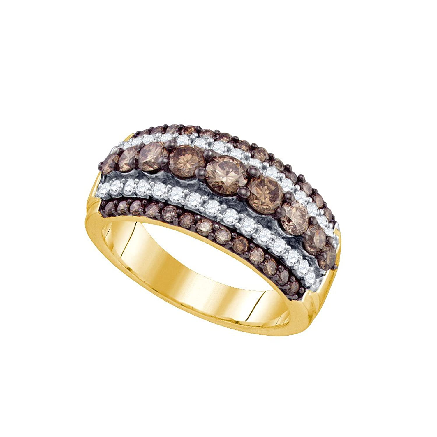 10K Yellow Gold Channel Set Round Cut Chocolate Brown and White Diamond Ladies Womens Wedding Band OR Anniversary Ring (1.59 cttw.)