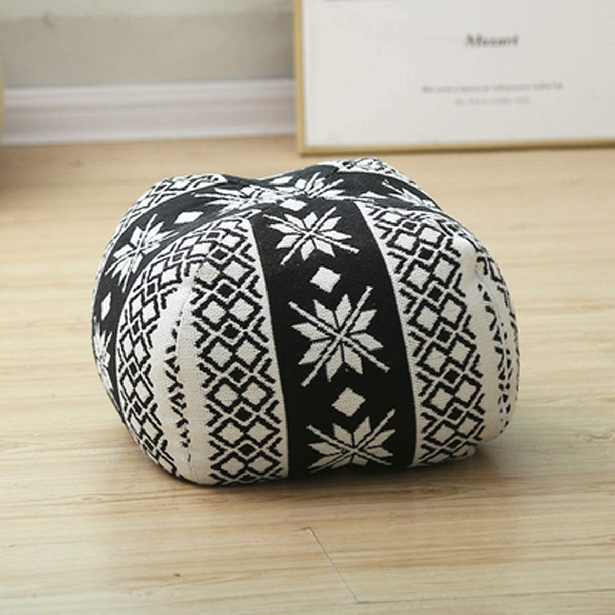 RISEON Boho Hand Woven Contemporary Cotton Linen Fabric Pouf Cover Footstool Ottoman Poufs Unstuffed-Square Floor Cushion Footrest Cover for Living Room, Bedroom and Under Desk Black White