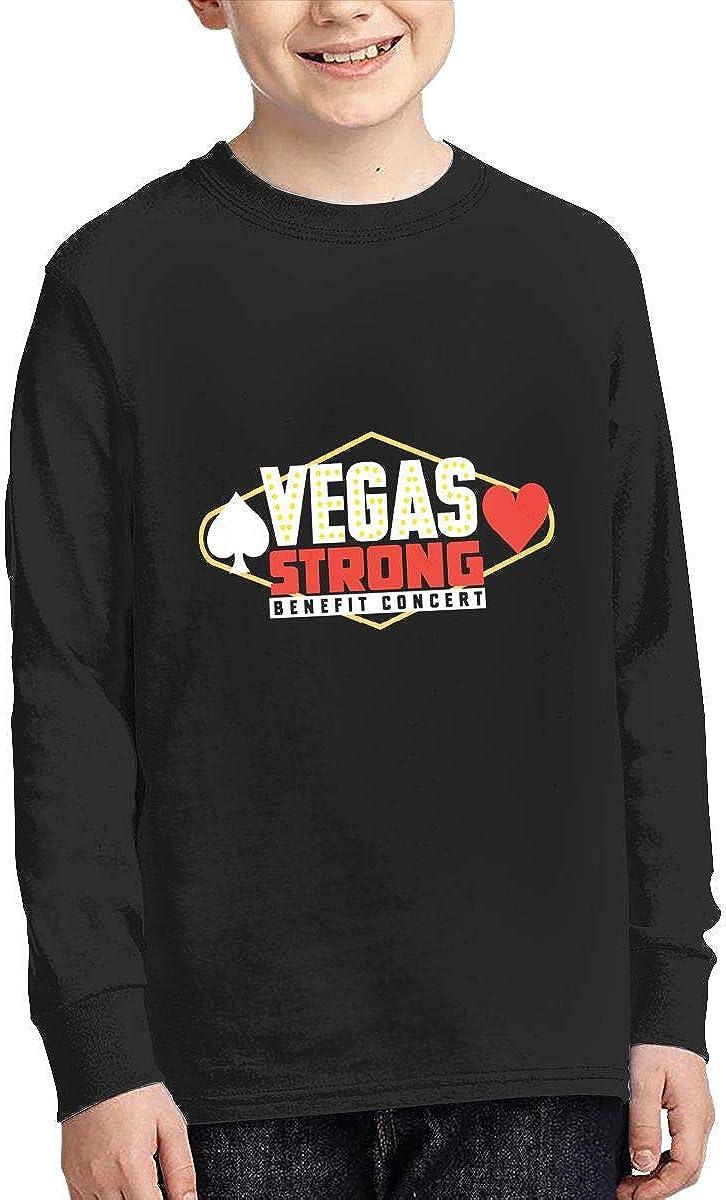 ZHAN-pcc Youth Vegas Strong Benefit Concert Classic Long Sleeve Crewneck T Shirt Jersey Black