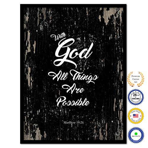 With God All Things Are Possible Matthew 19:26 Bible Verse Scripture Quote Canvas Print Picture Frame Home Decor Wall Art Gift Ideas 28