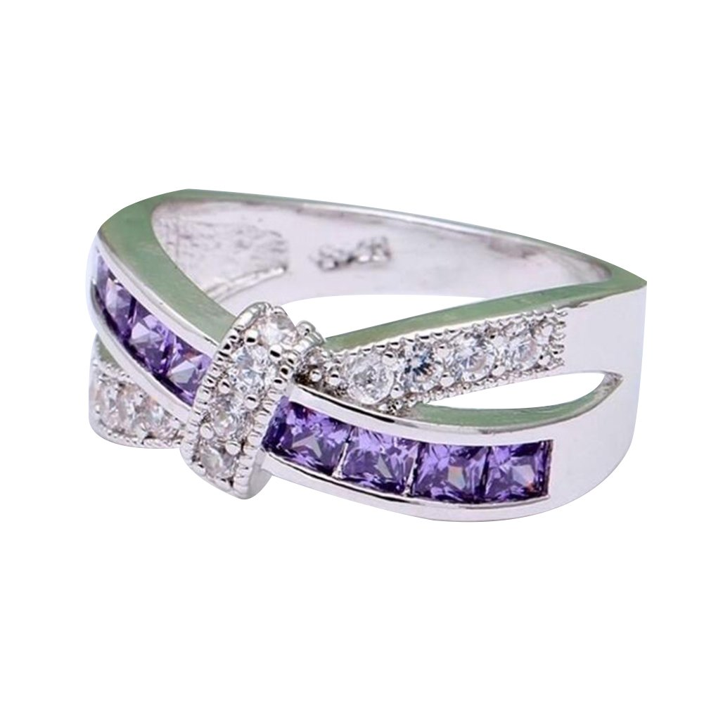 Impression 1pcs Anelli Anello di diamanti ametista anello di diamanti di moda anello di vetro Girl Accessori della gioielli festa di San Valentino regali di matrimonio anello aperto Silver + Porpora YXYP YXFR059