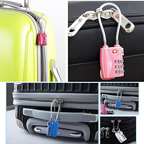DONJON TSA Approved Travel Luggage Locks, 3-Digit Combination Security Cable Padlock-(pick) by DONJON (Image #3)