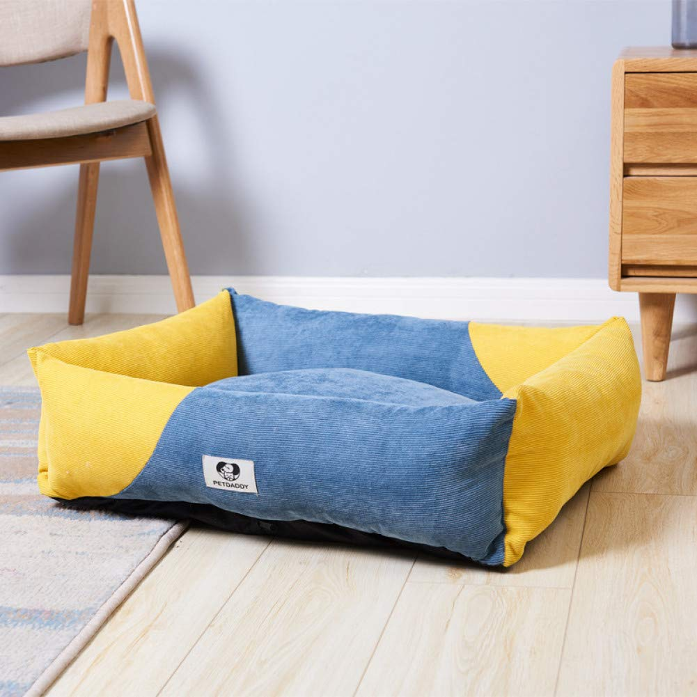 1 70x50x8cm bluee Yellow color Contrast Washable Dog Bed Sleeping Sofa Soft Rug Puppy Cat Big House Medium Small Dog Kennel Cushion