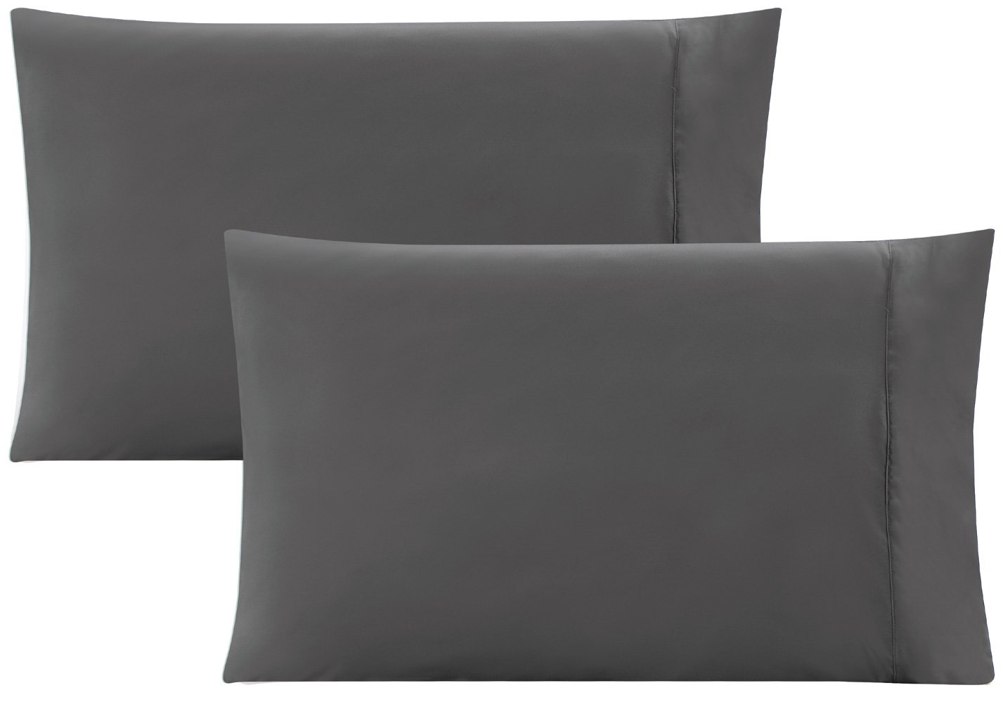 Brushed Microfiber Hight thread count Super Soft-SALE Wrinkle Fade and Stain Resistant 2-Piece Gold Crown 1500 Series Premium QUEEN size Solid GREY Pillow Cases