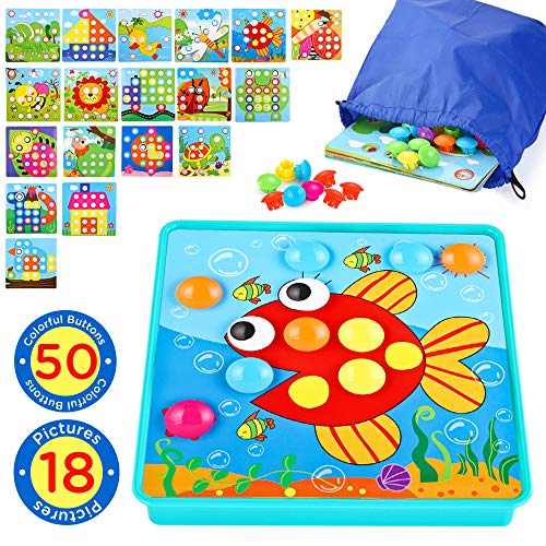 INSOON Button Art Toddlers Toys Preschool Learning Color Matching Puzzle Games for 3 4 5 Years Old Boys and Girls with A Storage Bag 50 Pegs and 18 Templates (Motor Planning Activities For 2 Year Olds)