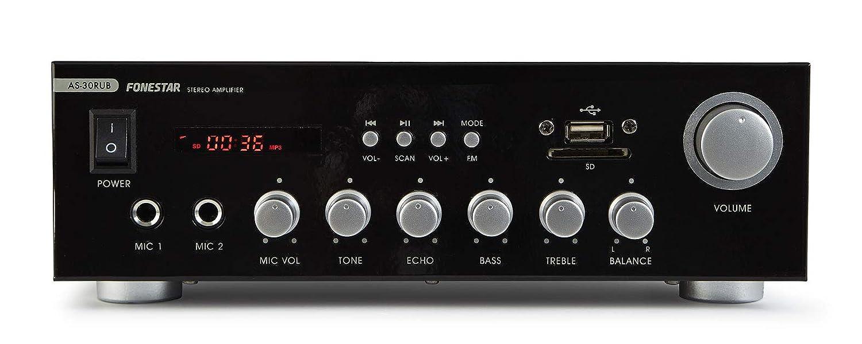 Fonestar AS-30RUB 2.0canales Hogar Alámbrico Negro - Amplificador de Audio (2.0 Canales, 15 W, 15 W, 30 W, Terminales de Abrazadera, 80 W): Amazon.es: ...