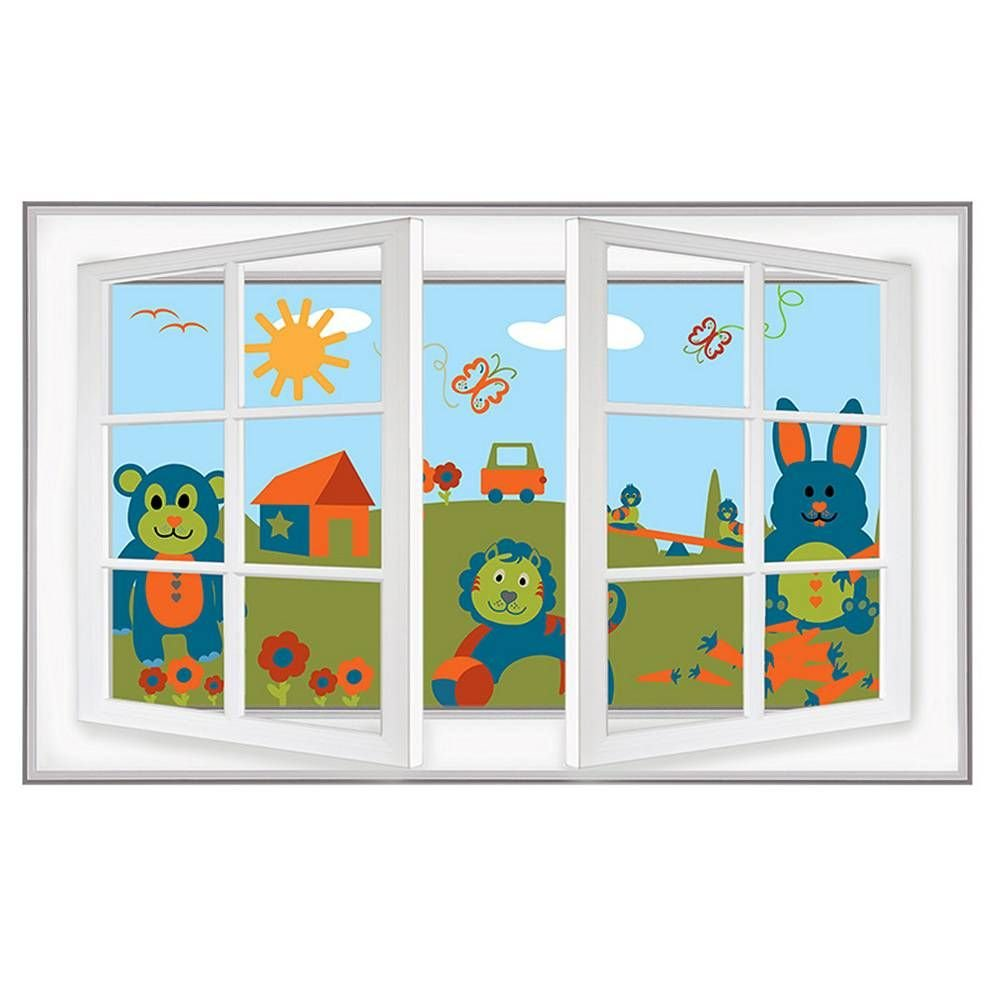 Alonline Art - Animals On Field for Kids Fake 3D Window Framed Stretched Canvas (100% Cotton) Gallery Wrapped - Ready to Hang | 42''x27'' - 106x69cm | for Home Decor Frame Framed Wall Art Framed Decor