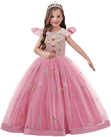 A-LINE Kid Long Applique Communion Pageant Birthday Flower Princess Girls Dress